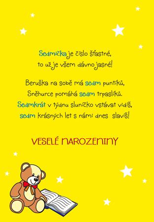 básničky pro děti k narozeninám Sedmé narozeniny   přání pro děti básničky pro děti k narozeninám
